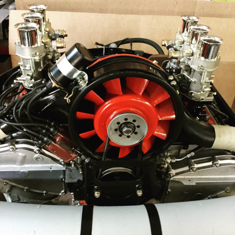 engine with painted fan housing