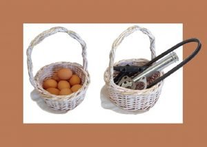 Baskets with eggs, basket with auto parts