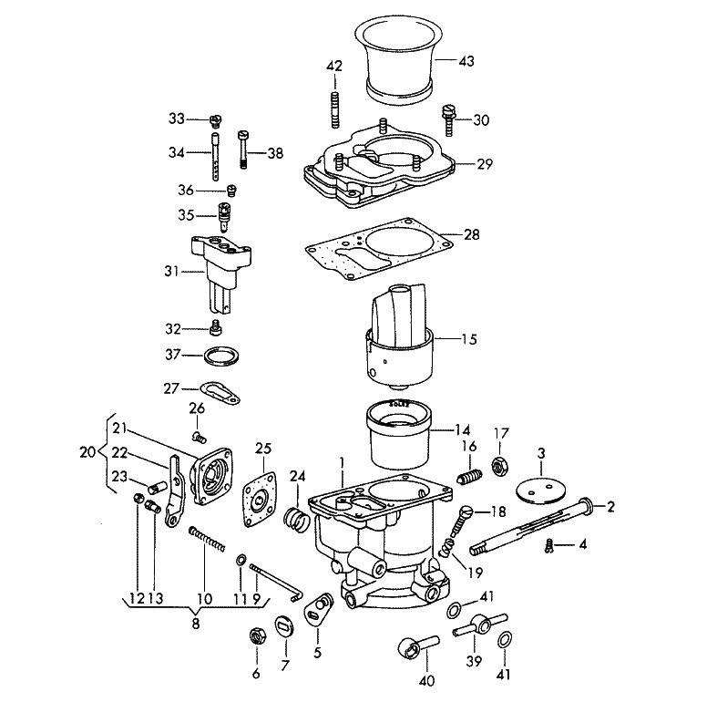 Breakdown of the Solex P40-I Parts