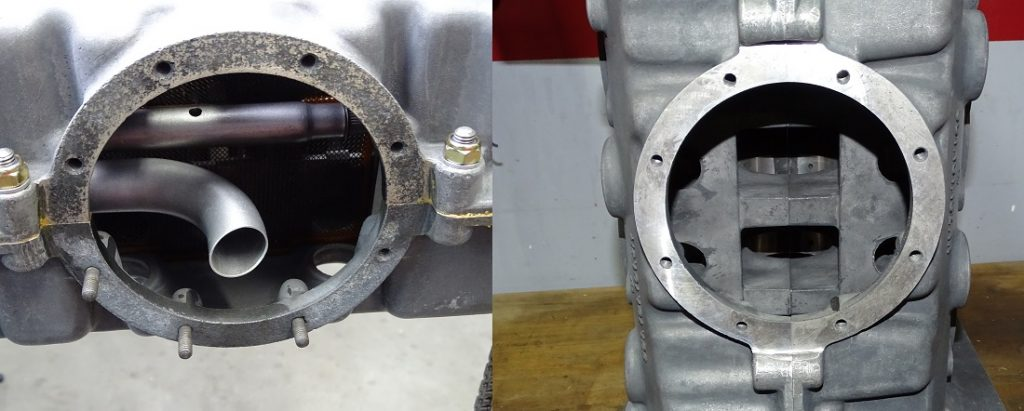 Sump plate resurfacing on a magnesium case
