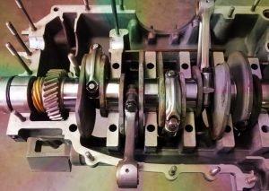 Engine case to crankshaft